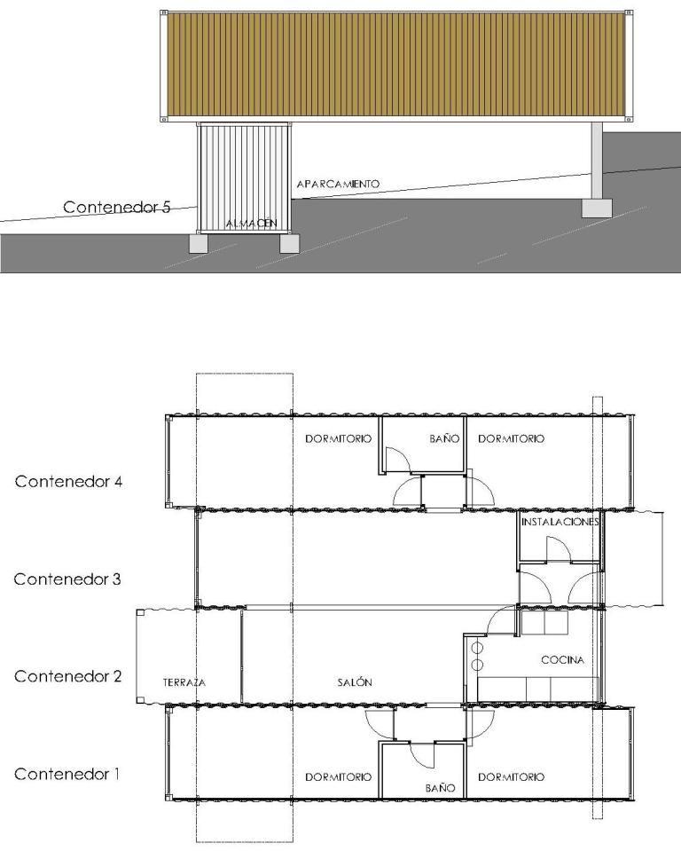 Casa contenedores maritimos vivienda low cost modular barata planta distribucion container design - Casas prefabricadas low cost ...