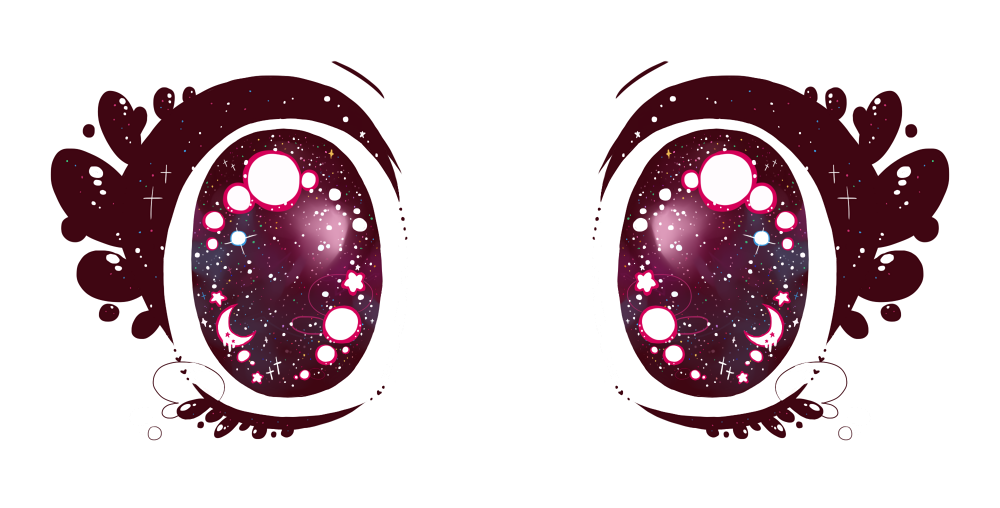 transparent sparkley anime eyes for your kawaii pastel