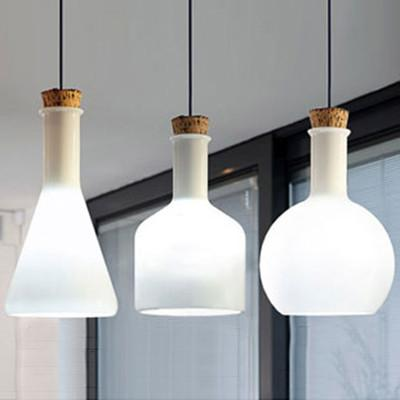 Lab White Glass Bottle Minimalist Pendant Light 40w Ceiling