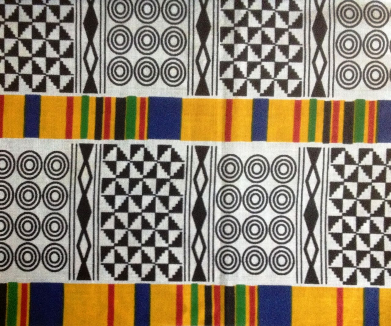 Cotton African fabric red, yellow, blue, black and green ...