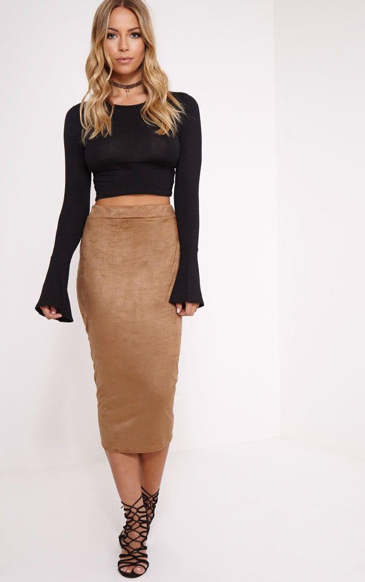 Amanda Camel Suede Midi Skirt Image 2 | Style | Pinterest | The o ...