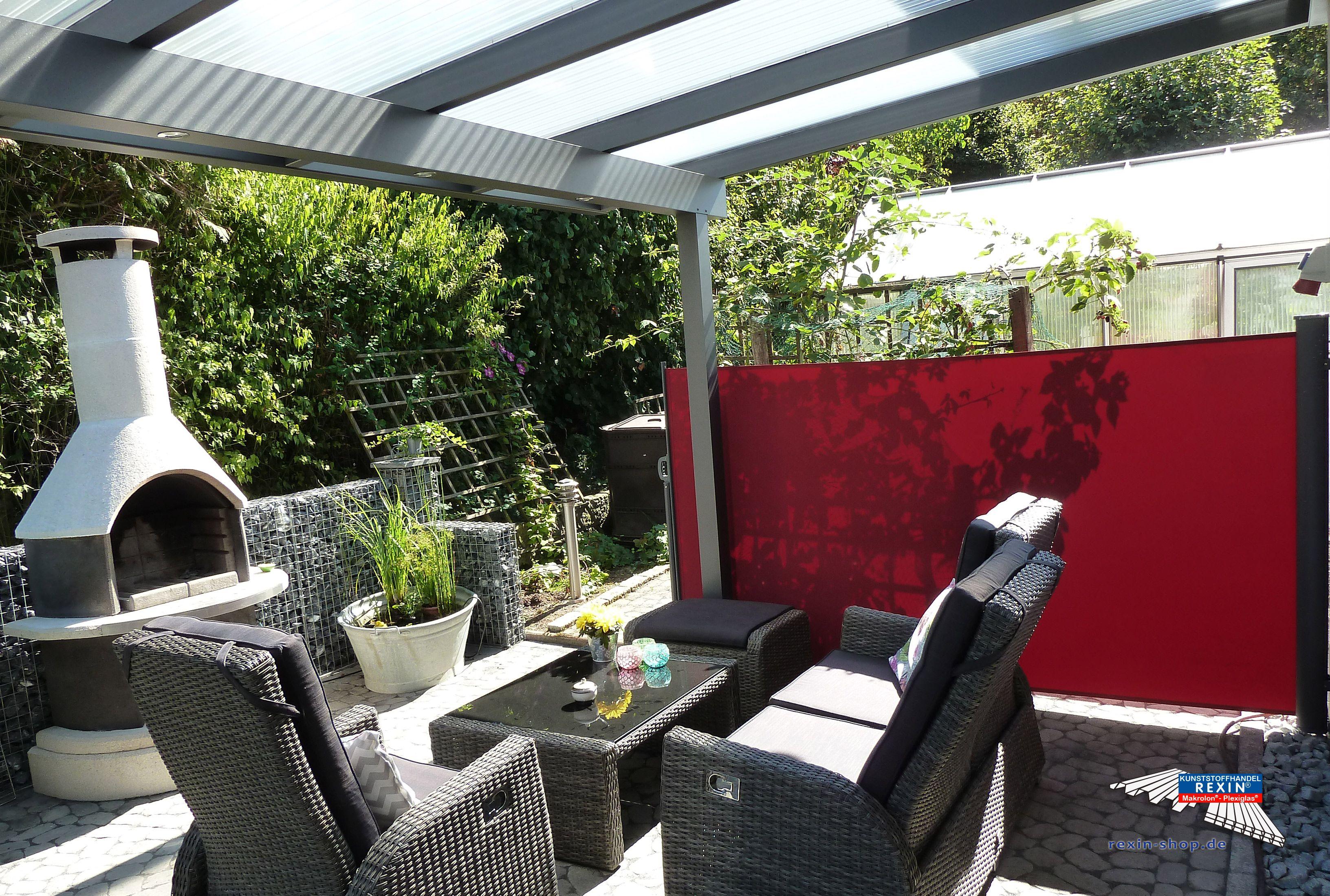 Perfect Ein Alu Terrassendach der Marke REXOclassic m x m in Anthrazit mit Plexiglas