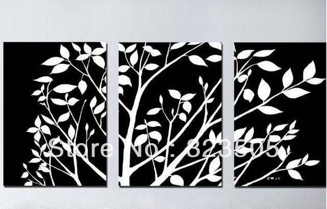 3 piece black white canvas wall art modern abstract wall deco tree artwork picture oil painting set living room free shipping 53 00