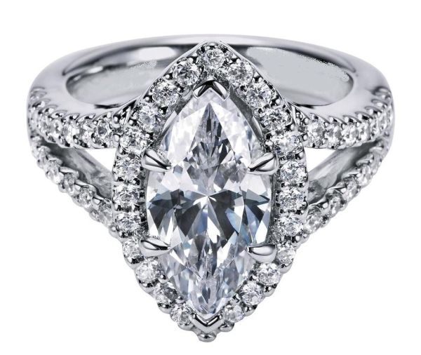 Engagement Ring - Marquise Diamond Engagement Ring Halo Double band in 14K White Gold - ES1076MQ