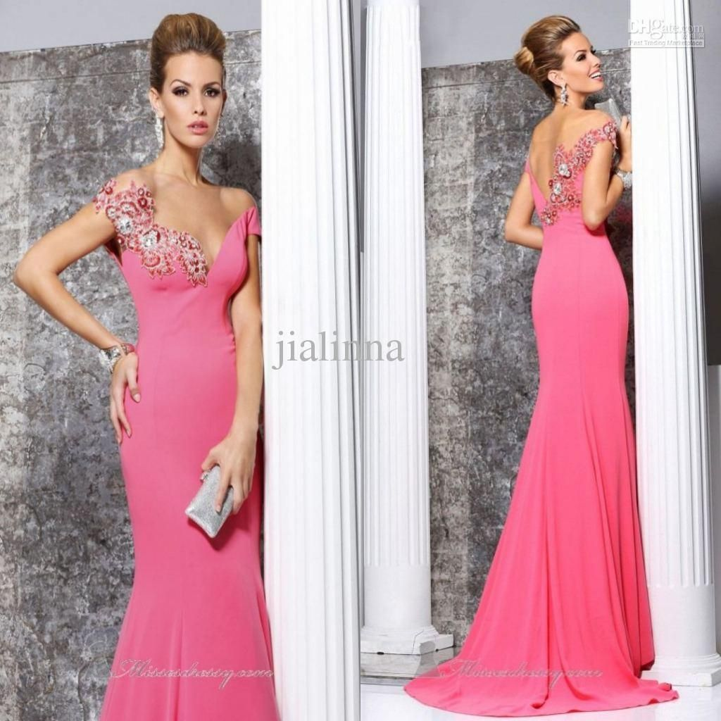 2014 Tarik Ediz Elegant Pink Cap Sleeve Appliqued Mermaid Sheath ...