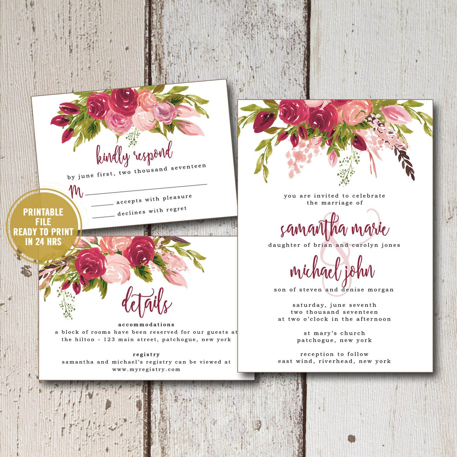 Printable Wedding Invitation Suite Rustic Fl Inserts Response Cards