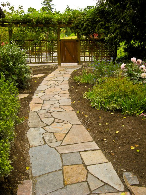 Flagstone Walkway From Deck Steps To Drive Way Outside