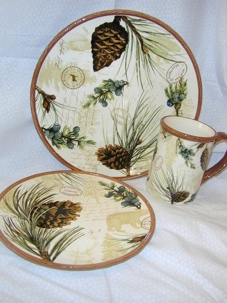 Country Brown and Green - Pine Cone dishes | Walk in Woods Pine Cone Lodge Dinnerware set Cabin rustic & Country Brown and Green - Pine Cone dishes | Walk in Woods Pine Cone ...