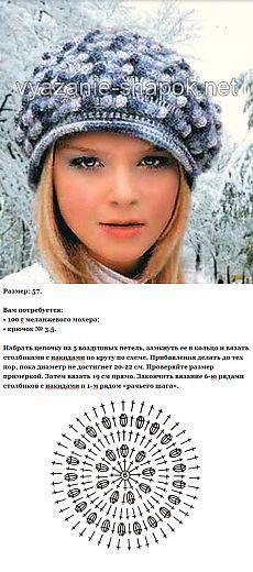 Зимний берет крючком с описанием | ВЯЗАНИЕ ШАПОК: женские шапки спицами и крючком, мужские и детские шапки, вязаные сумки