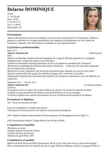 Modèle De Cv Adjoint Administratif Adjoint Administratif