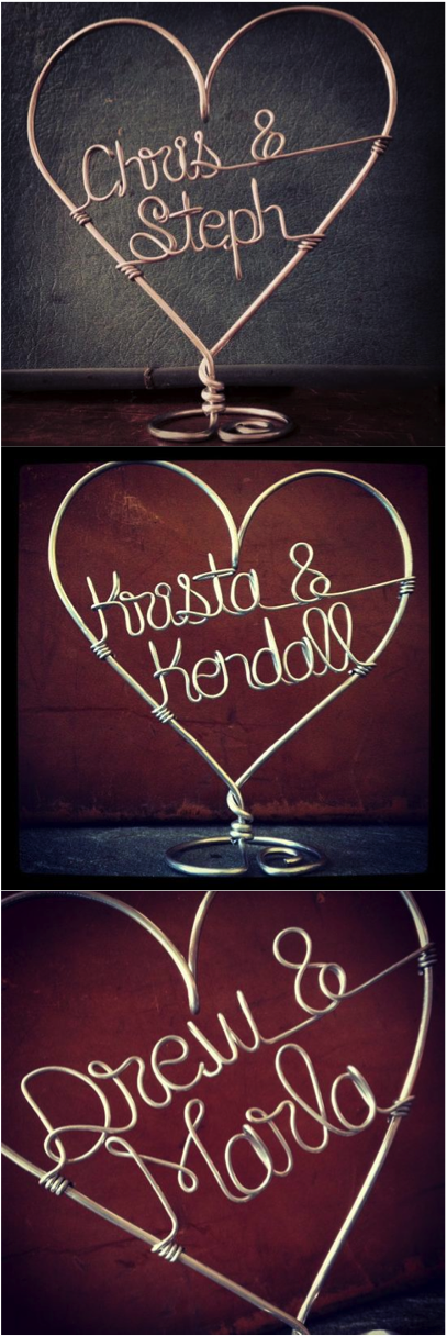 This unique cake topper will be delicately customized just for the bride and groom! The base allows it to be free-standing, which gives you the opportunity to use it as decor in your home long after the Big Day! | Hatch.co