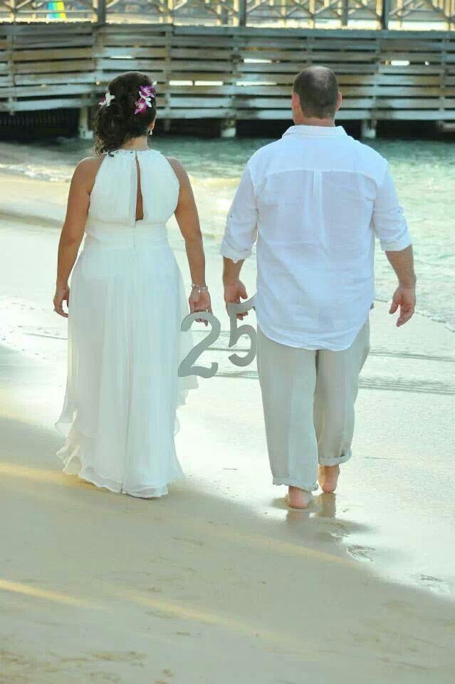 25th anniversary vow renewal beach wedding destination