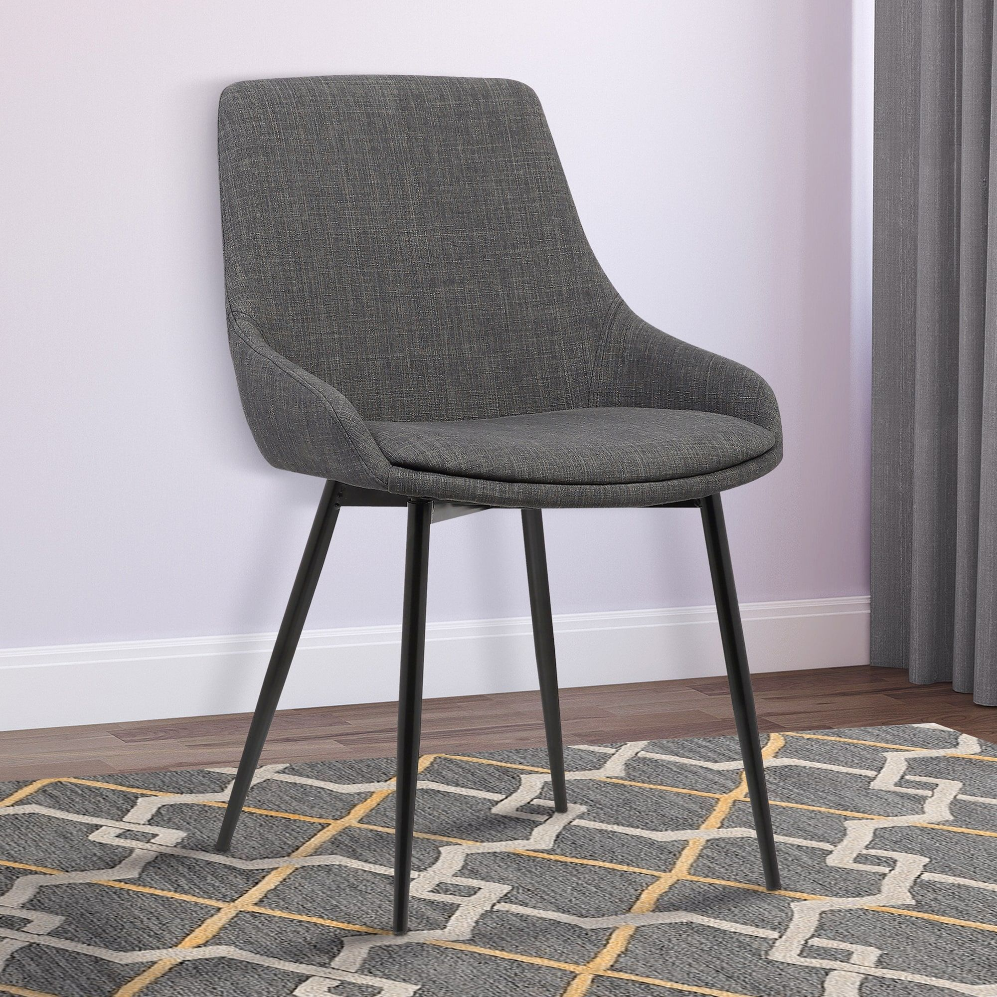 Armen Living Mia Gray Fabric Dining Chair With Black Powder Coated Metal Legs Grey