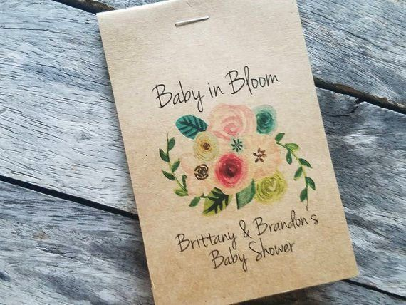Sunflowers Baby Shower Favors Floral Spray Bouquet Baby in Bloom Flower Seed Packets Favor for Baby Sprinkle pinks greens brown kraftbabyRUSTIC Sunflowers Baby Shower Fav...