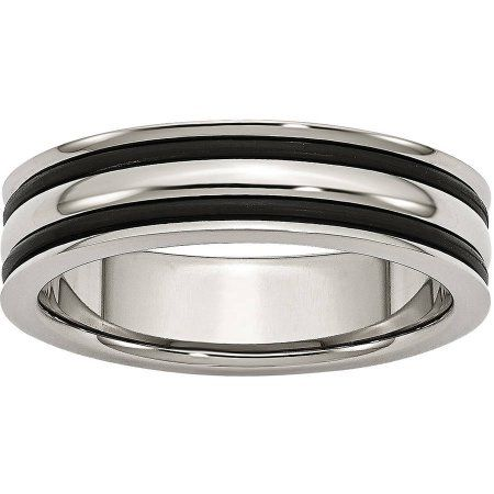 ICE CARATS Titanium Black Enameled 8mm Wedding Ring Band Fancy Fashion Jewelry for Women Gift Set