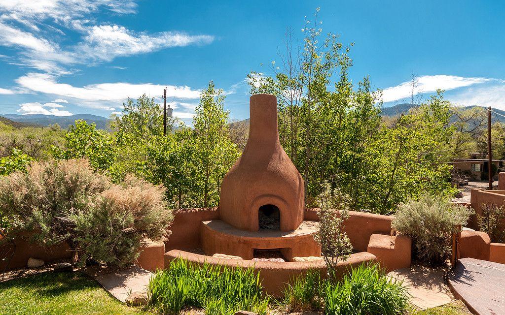 Sibling Retreat In Santa Fe Hacienda Style Backyard Fireplace Backyard Plan