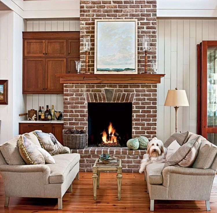 Pin By Designs By Katrina On Fireplaces Living Room With Fireplace Red Brick Fireplaces Living Room Modern #red #brick #fireplace #living #room