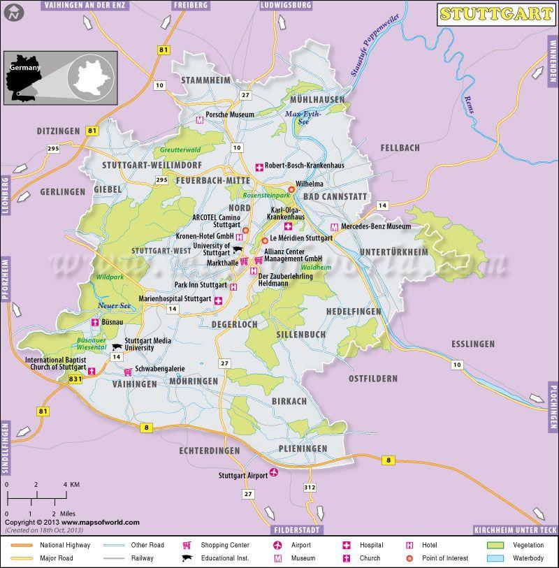 Map of Stuttgart Germany Maps Pinterest Stuttgart City maps