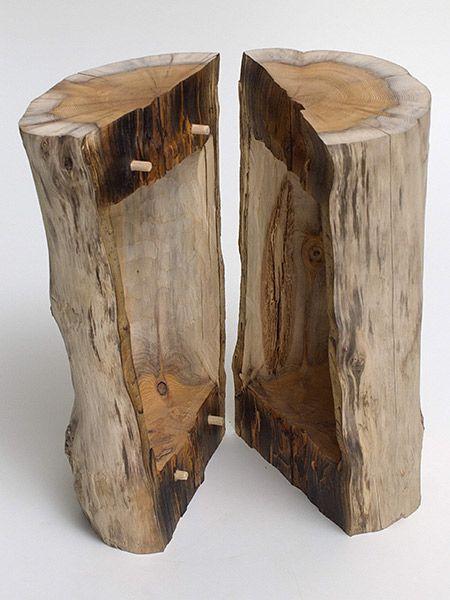 peter wagensonner skulpturen objekte aus holz urne baumform gespalten holzideen holz. Black Bedroom Furniture Sets. Home Design Ideas