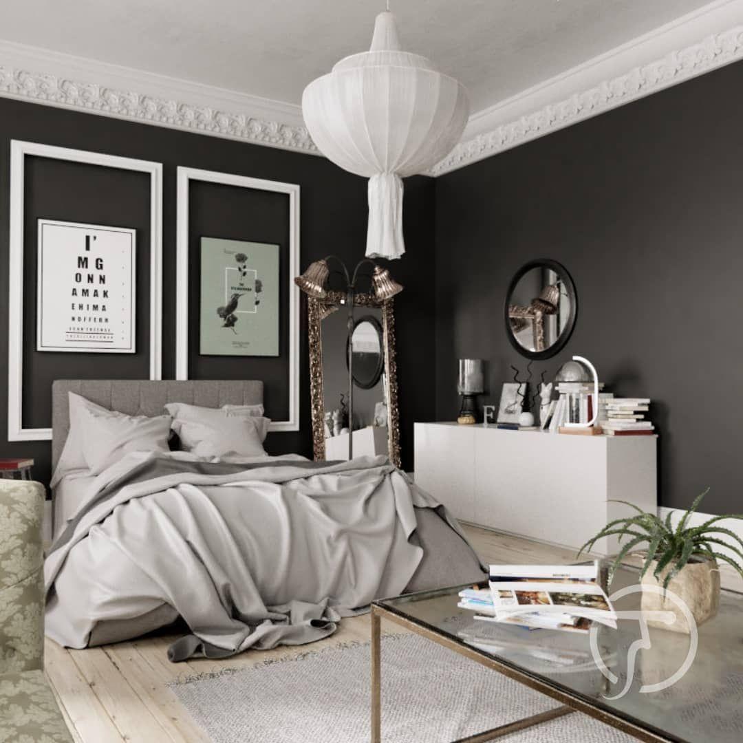 Schwarze Wände Mit Weißen Stuck Im Kontrast Schwarze Wände Wandgestaltung Akzentwand