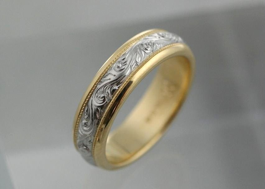 Sculptural Hand Engraved Scroll With Milgrain Border Detail On Two Tone Band