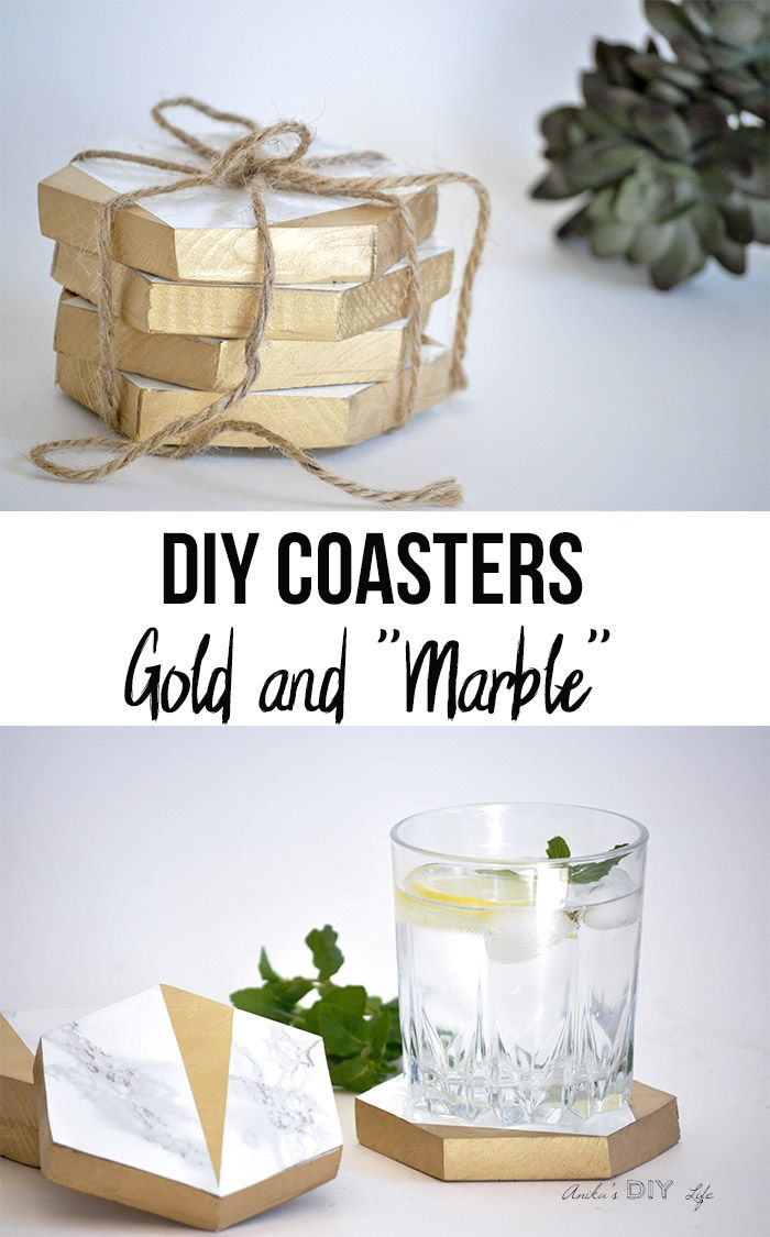 How to make diy hexagonal marble and gold coasters anikaus diy