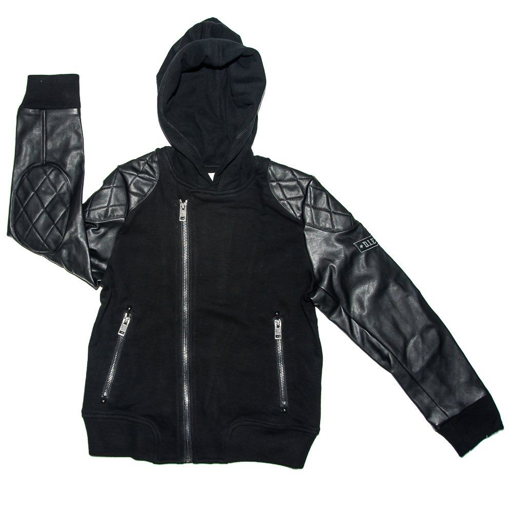 Diesel Boys Sasli Hooded Jacket 4 14 10 Big Kids Full Zip Front Closure Hooded Leather Sleeves Zipper Front P Jackets Girls Jacket Bell Bottoms Outfit [ 1000 x 1000 Pixel ]