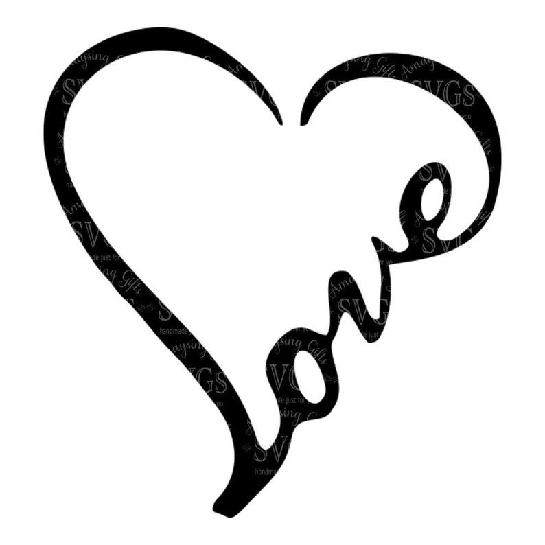 Svg Love Word Heart Love Heart Wordart Love Decal Love