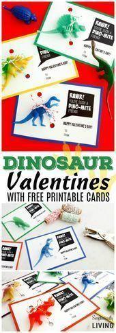 Photo of Dinosaurier Valentines (mit kostenlos druckbarer Karte) Dinosaurier Val … – #D…