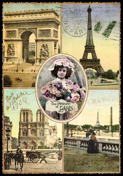carte postale paris multivues une pens e de paris ppof 066 vintage ephemera pinterest. Black Bedroom Furniture Sets. Home Design Ideas