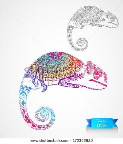 chameleon - stock vector
