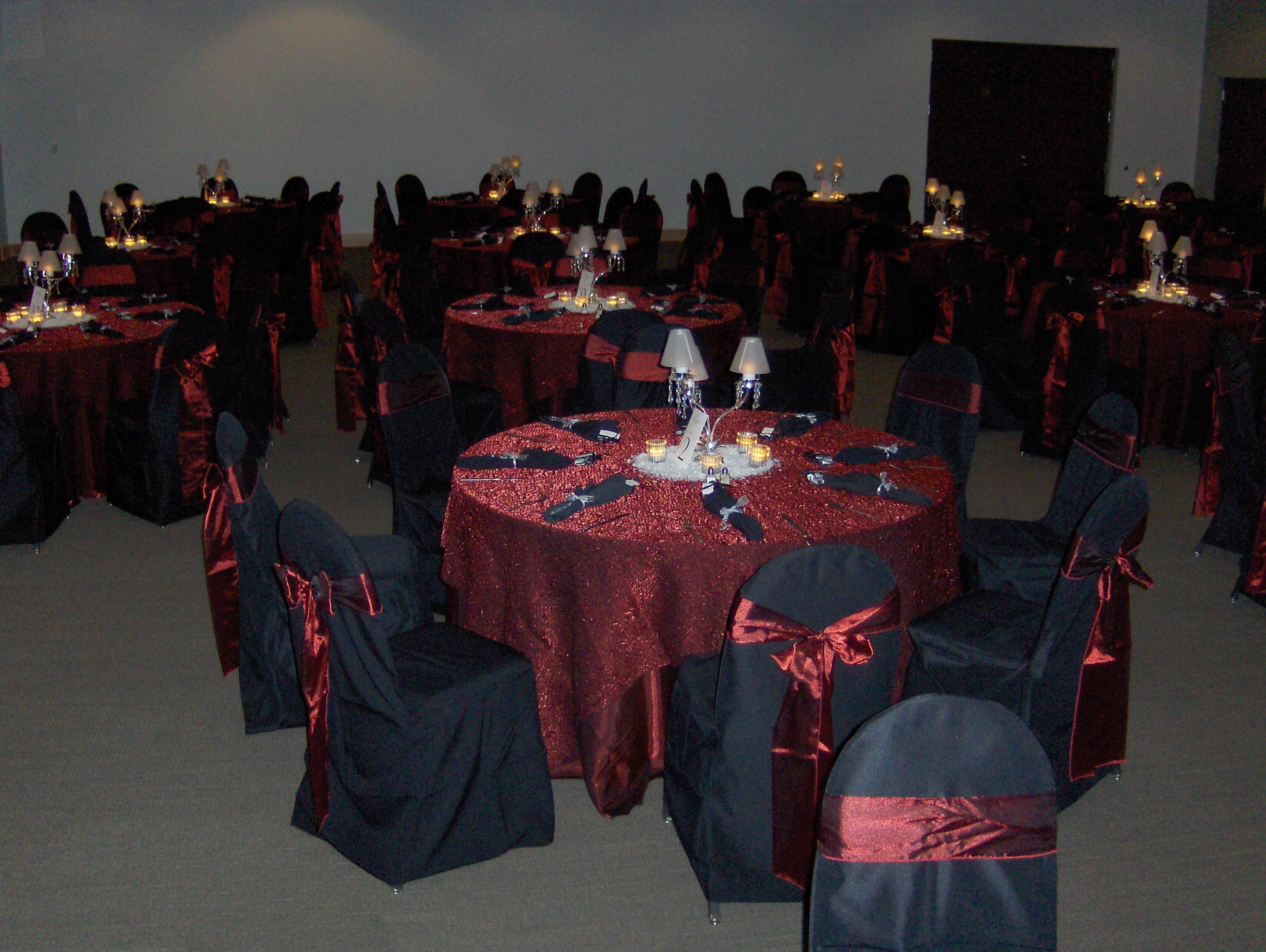 Wedding Decor Burgundy Linen Black Chair Covers With Burgundy