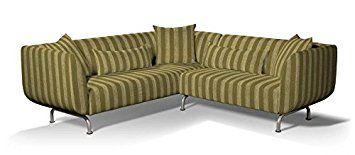 Dekoria Fire Ing Ikea Stromstad 3 2 Seater Corner Sofa Cover Olive Chenille Stripe Co Uk Kitchen Home