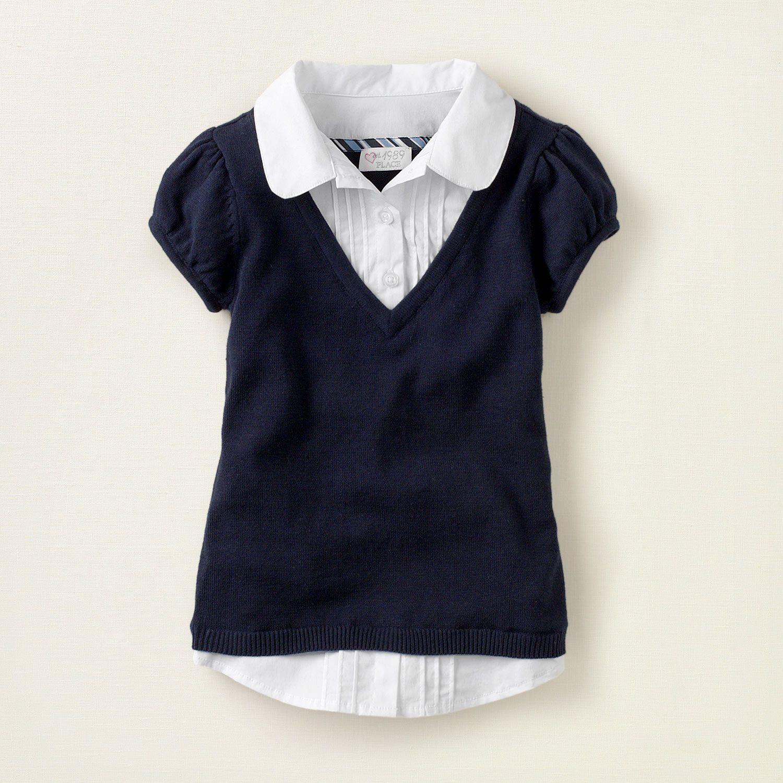 b5a965c6cf2 girl - school uniforms - uniform faux-layered vest