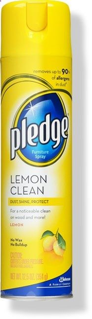 Lemon Pledge Furniture Spray: There are a lot of open fields in my neighborhood, so we constantly have spiders coming inside the house. By spraying the front and back entrances to the house, window sills, and baseboards with Lemon Pledge, weve all but eliminated our spider problem. Apparently spiders are repelled by the scent of lemon. I also heard that essential oils will work to repel spiders as well.