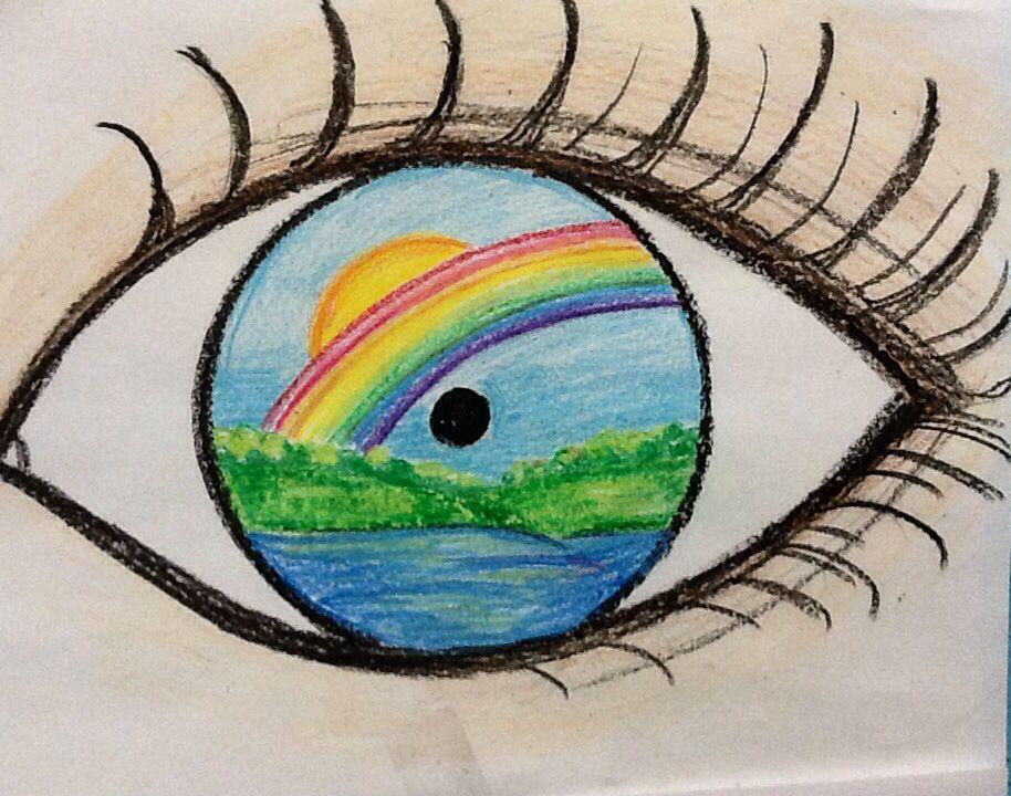 Een mooi oog, die de positieve kant ziet, een zonnetje met een regenboog en een leuk meertje