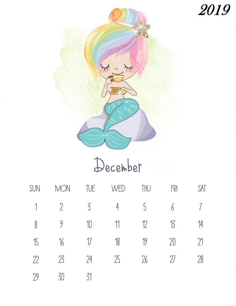 Printable Calendar 2019 Pocahontas Prinsess For February For Kids Free Printable December 2019 Kids Calendar | Calendar2019 | Kids