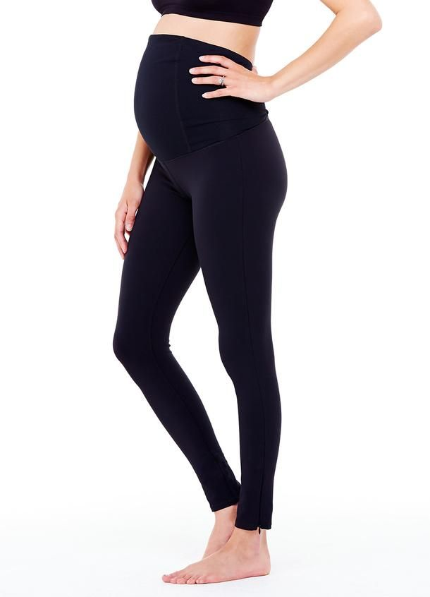 Maternity Workout Legging with Crossover Panel® - Jet ...