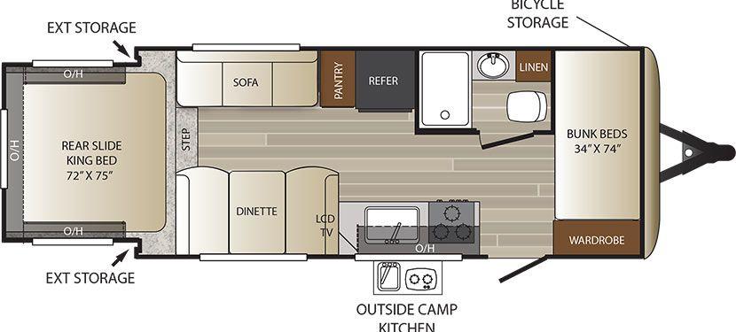 Floorplan Image Of Keystone Outback Model 210urs Keystone Outback Bunkhouse Camper Bunkhouse Travel Trailer