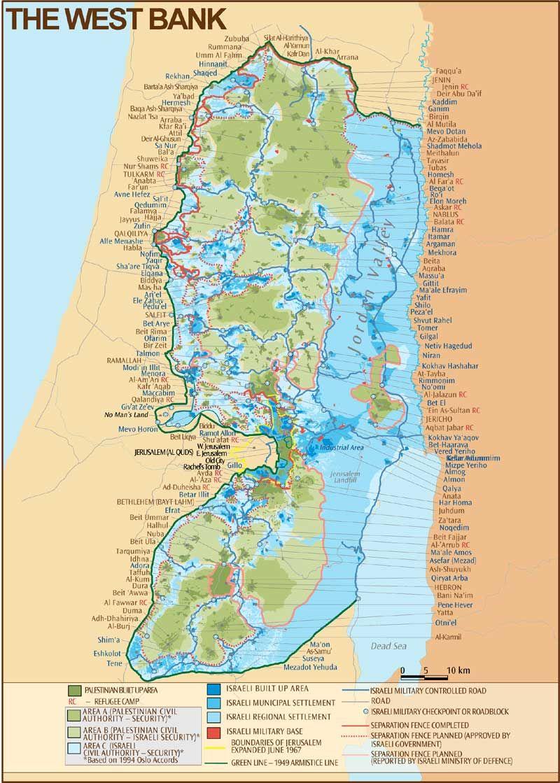 The West Bank Map (Israel-Palestina) | Maps | Jerusalem ...