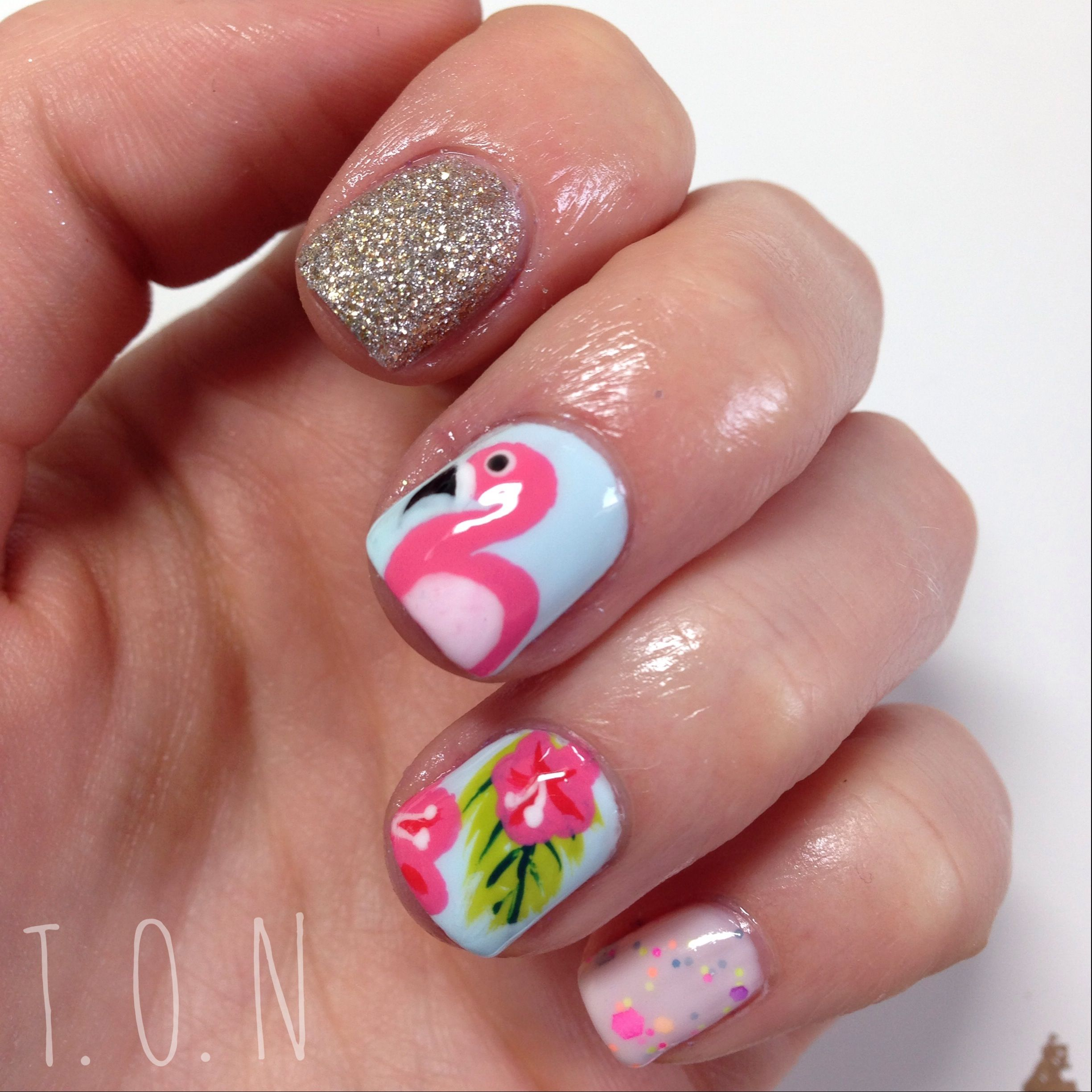 August Nail Art Challenge Day 11 Tropical Flamingo Nails Tropical Nails August Nails