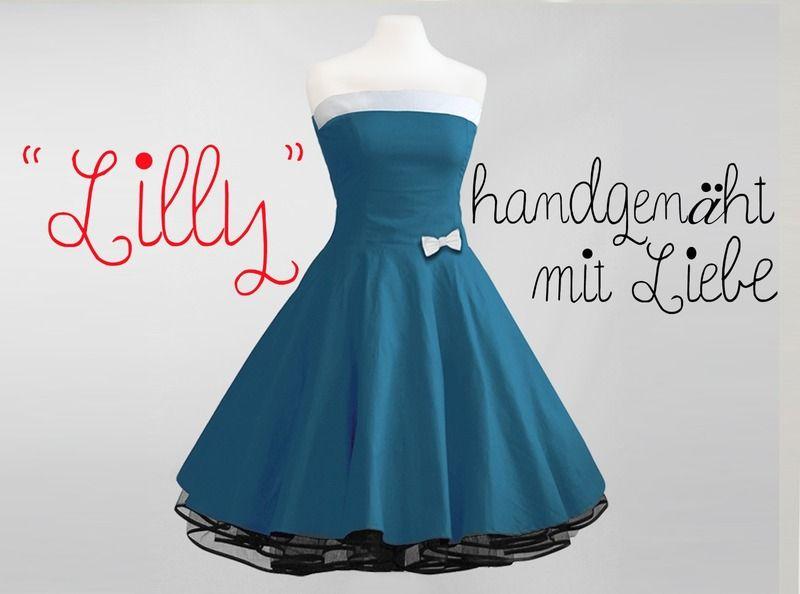 Baumwoll-Kleid schulterfrei petrol-grün   Rockabilly, Vintage and ...