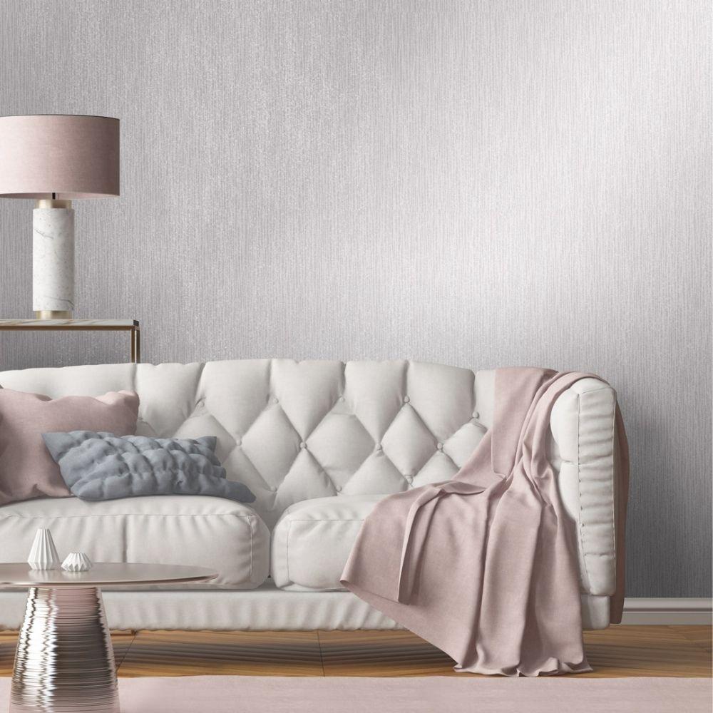 Chelsea Glitter Plain Textured Wallpaper Soft Grey Silver In