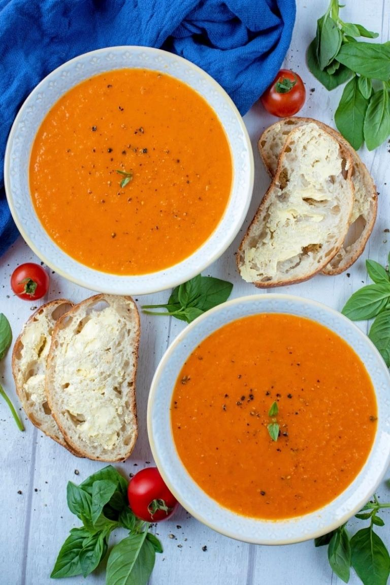 Roasted Red Pepper And Tomato Soup Recipe Stuffed Peppers Tomato Soup Recipes Beef Recipes