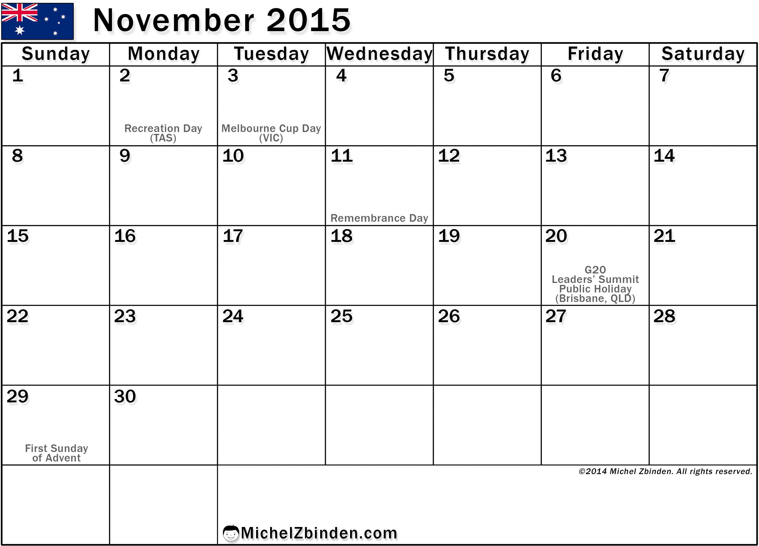 Feel Free to Download Calendar 2015 November and November 2015 ...