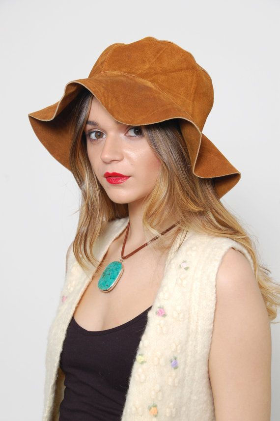8e5eb2b22fb Vintage 70s FLOPPY Hat SUEDE Hippie Hat Leather Boho Hat Wide Brim Festival  Hat