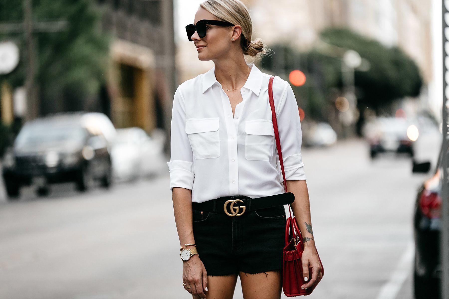 508819c0207 Blonde Woman Wearing White Button Down Shirt Black Denim Shorts Outfit  Saint Laurent Sac De Jour Red Handbag Gucci Marmont Belt Fashion Jackson  Dallas ...