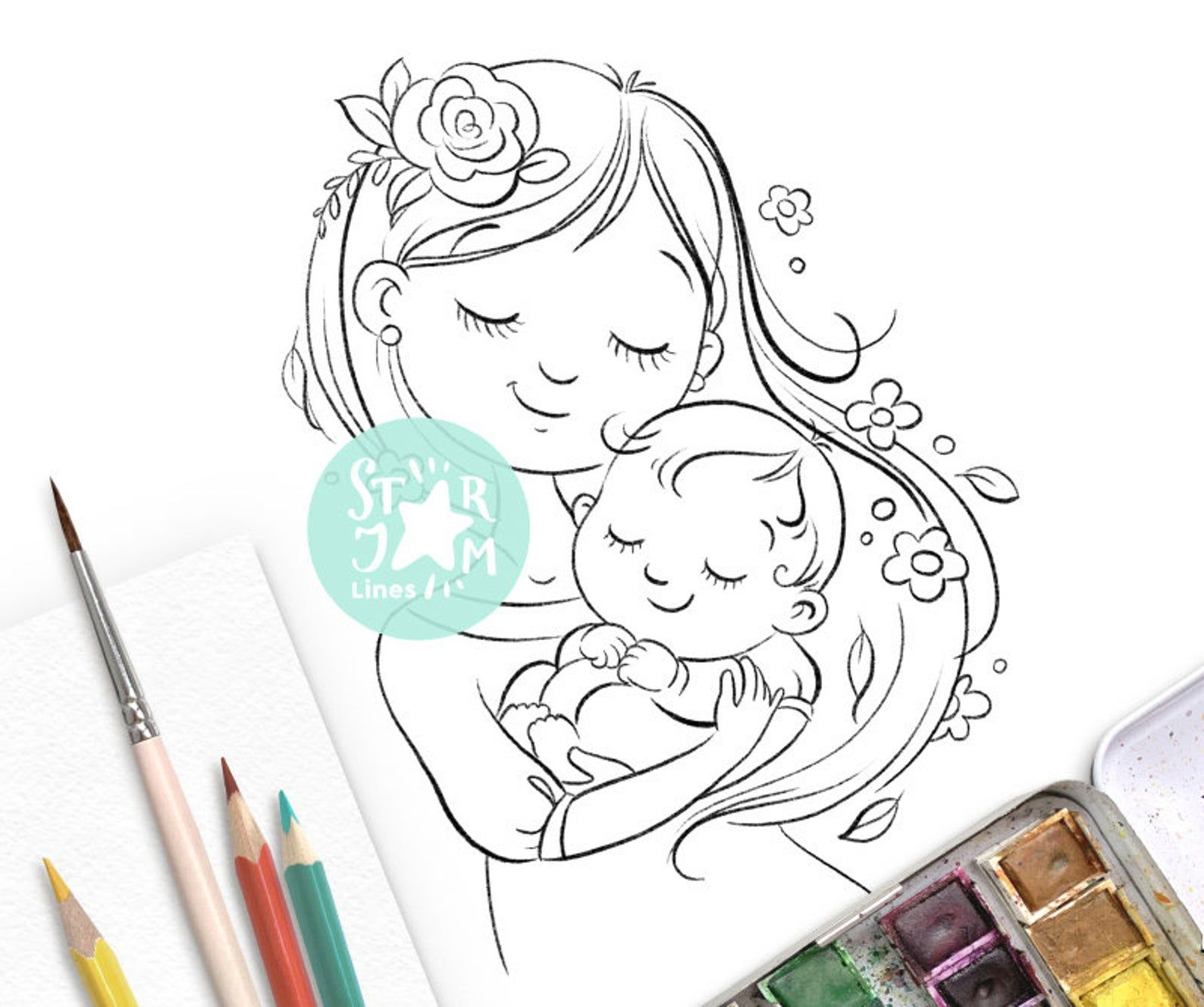 Stork And Newborn Baby Shower Coloring Page Baby Coloring Pages Coloring Pages Coloring Book Pages