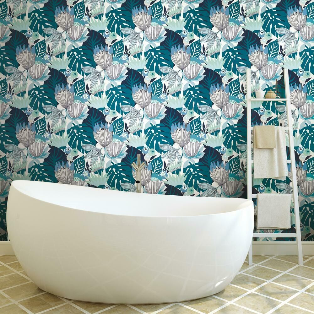 Tropical Leaves Peel And Stick Wallpaper Room Visualizer Peel And Stick Wallpaper Roommate Decor