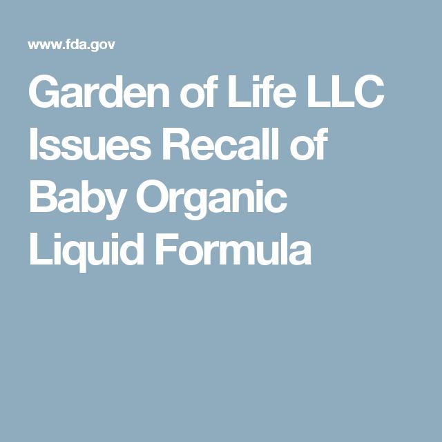 garden of life llc issues recall of baby organic liquid formula - Garden Of Life Recall